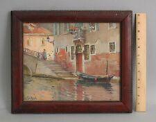 Antique MABEL WOODWARD Impressionist Oil Painting Italian Venice Canal Gondola