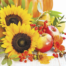 20 Paper Luncheon Napkins Autumn Composition Sunflowers and Apples