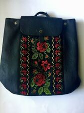 Alba Soboni Backpack/Purse-Black Faux Leather w/ Rose Embroidery/Vyshyvanka BNWT