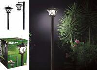 Outdoor Garden LED Antique Solar Landscape Path Light Lamp Post Dual Purpose