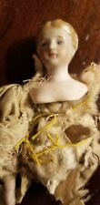 Antique 236 Bisque Shoulder Head Dollhouse Doll Woman With Molded Bun Hair