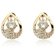 Clear Drop Shaped Rose Gold finish Omega-Back Earrings quality jewellery UK