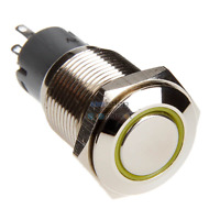 DimasTech Black Push-Button 16mm ID Alternate Action LED Color yellow PD010