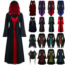 Halloween Womens Ladies Renaissance Gothic Witch Party Gown Costume Fancy Dress