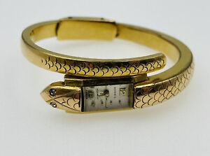 Ernest Borel Vintage Gold Plated Manual Wind Figural Snake Watch Bracelet