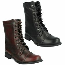 Block Heel Ankle Boots Lace Up Synthetic Shoes for Women