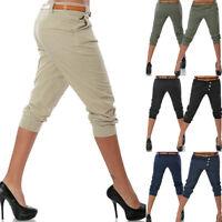 BS:Frauen Chino Sommer Capri Kurze Hose Stoffhose Hüfthose Bermuda Shorts Pants