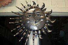 VINTAGE MEXICAN FOLK ART ARTISAN HEAVY WELDED METAL SMILING SUN BURST WALL ART