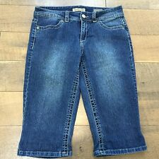 Nine West Sz 8 Brady Bermuda Shorts Blue Stretch Denim Knee Short Womens Size 8