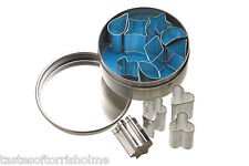 Mini 1.5cm Metal Cookie or Icing Cutters in Storage Tin - Set of 12