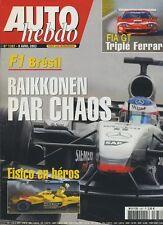 AUTO HEBDO n°1387 du 9 Avril 2003 GP BRESIL AUDI A3 2.0 FSI MINI COOPER
