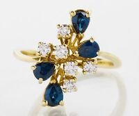 Vintage Lady's 18k Yellow Gold Sapphire and Diamond Ring
