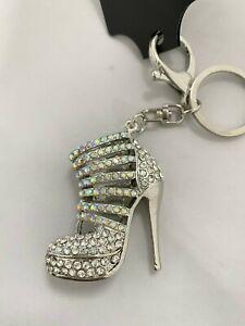 SEXY DIAMANTE SILVER HIGH HEEL Keyring handbag charm shoe ladies Rhinestone NEW
