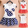 Kids Baby Girls Polka Dot Bow Tutu Dress Ruffle Princess Casual T-Shirt Sundress