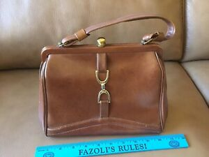 "Vintage 1970s Womens Brown Faux Leather Purse Handbag 11"" x 7"" x 4"" ~ Retro"