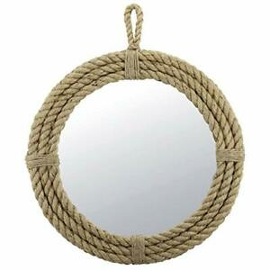 Stonebriar Small Round Wrapped Rope Mirror with Hanging Loop Vintage Nautical