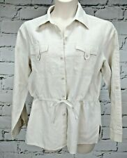 Liz Claiborne Shirt Blouse Linen Sz L Tab Sleeves Long 3/4 Pockets Belt .