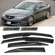 For 04-08 Acura TSX Mugen Style Smoke Tinted Window Frame Visors  CL9 + Emblems