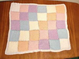 VTG Handmade Crocheted Baby Blanket Pastel Squares