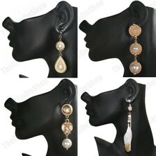 """CLIP ON retro 3""""-4"""" LONG GOLD FASHION EARRINGS vintage style PEARL bead clips"""