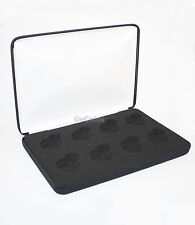 Black Felt COIN DISPLAY GIFT METAL DELUXE PLUSH BOX holds 8-Half Dollars US JFK
