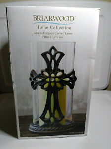 Stonebriar Decorative Glass Hurricane Pillar Candle Holder with Bronze Metal