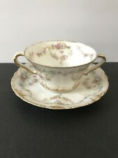 Haviland Limoges France Boullion Cup Saucer Double Gold Rose Wanamaker, NY