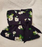 Hollister -  Womens Floral Strapless Tube Bandea Blue Top Size M with Belt Bow