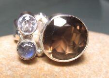 925 silver smoky quartz & cubic zirconia ring UK P¾-Q/US 8.25. Gift bag.