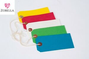Coloured Strung Tags 120mm x 60mm Luggage Labels Tie On Price Gift Retail