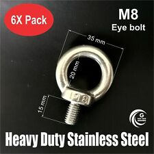 6X M8 EYE BOLT Heavy Duty STAINLESS STEEL Lifting Roof Rack Boat Shade Sail 8mm