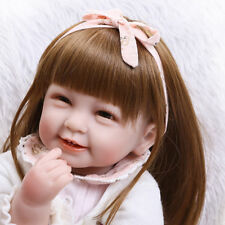 "22"" Bebe born Silicone Lifelike Baby Doll Toddler Alive with Girl Dress Gift HT"