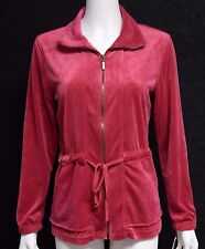 Vintage Cotton SMALL Solid Fuchsia Pink Velour Zipper Front Jacket $49 S NWT