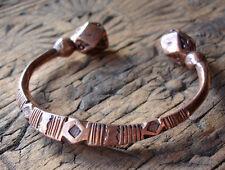 NIGER TUAREG brillant grand Chunky Main Gravé HEAVY COPPER Bracelet + Diamants