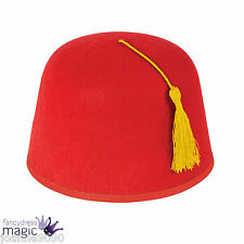 *Adult Red Fez Hat with Yellow Tassel Turkish Tommy Cooper Fancy Dress Costume*