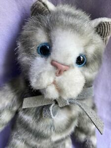 "Rare 8"" Size Russ Berrie Tabatha"" Vintage Stuffed Animal 8"" Tabby Cat"