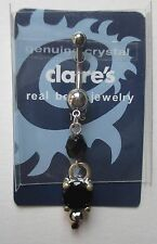 """cc Black dangle crystal 14g 3/8"""" surgical steel BELLY RING body jewelry"""