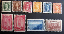 CANADA #231-6 241,241a-43 VERY FINE MINT H. CAT. $87.50 POST OFFICE FRESH