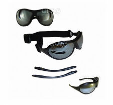 MIRRORED LENS MOTORCYCLE BIKER GOGGLES SUNGLASSES INTERCHANGABLE STEMS OR STRAP