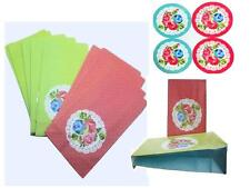 10pk Red & Green Paper Party Bags & Sticker Tea Party Wedding Treat Goodies Bag