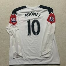 Manchester United Nike White Away L/S Jersey 2010-11 - Rooney 10 - Men's 2XL