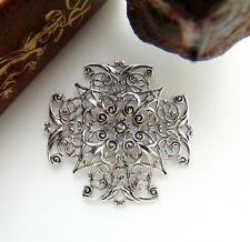 Antique Silver Cross Filigree Stamping ~ Jewelry Oxizided Finding (Cb-3043)