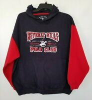Beverly Hills Polo Club Hoodie Mens Pullover Graphic Navy Blue Drawstring Size L