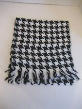 Unisex Black & White Houndstooth Long Scarf 10inW./51in.L. 100% Acrylic NWNT