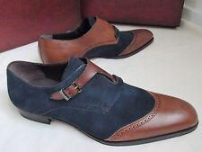 Mezlan Mens Size 10.5 M Blue Suede Brown Leather Monk Strap Dress Shoes Slip On