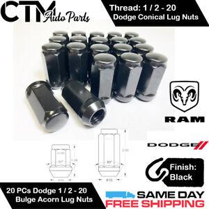 20 DODGE/RAM BLACK 1/2-20 WHEEL LUG NUT BULGE ACORN CONICAL SEAT FIT DODGE/RAM