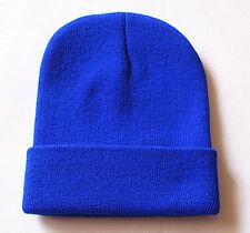 Men's Women Beanie Knit Ski Cap Hip-hop Blank Color Winter Warm Unisex Wool Hat Dark Blue