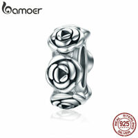 Bamoer Authentic S925 Sterling Silver Rose Charm Spacer Fit Bracelet Jewelry