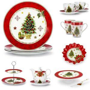 TELLER WEIHNACHTEN Tafelservice Tasse Becher PORZELLAN Etagere Weihnachtsdeko