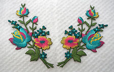 Turquise Yellow roses pair flowers floral boutique Embroidered Sew Iron on Patch
